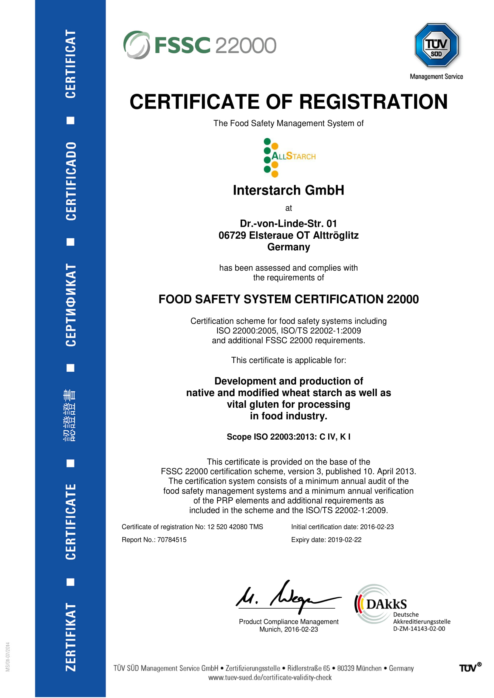 Interstarch  Certificates of quality